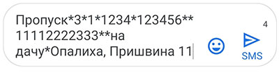 Пример сообщения на номер 7377 для получения пропуска